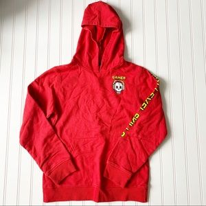 JEM red gamer pullover hoodie sweater boys Sz L